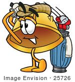 #25726 Clip Art Graphic Of A Yellow Safety Hardhat Cartoon Character Swinging His Golf Club While Golfing