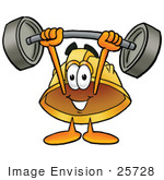 #25728 Clip Art Graphic Of A Yellow Safety Hardhat Cartoon Character Holding A Heavy Barbell Above His Head
