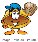 #25730 Clip Art Graphic Of A Yellow Safety Hardhat Cartoon Character Catching A Baseball With A Glove