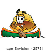 #25731 Clip Art Graphic Of A Yellow Safety Hardhat Cartoon Character Rowing A Boat