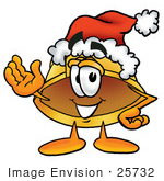 #25732 Clip Art Graphic Of A Yellow Safety Hardhat Cartoon Character Wearing A Santa Hat And Waving
