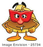 #25734 Clip Art Graphic Of A Yellow Safety Hardhat Cartoon Character Wearing A Red Mask Over His Face