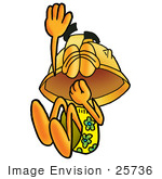 #25736 Clip Art Graphic Of A Yellow Safety Hardhat Cartoon Character Plugging His Nose While Jumping Into Water