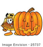 #25737 Clip Art Graphic Of A Yellow Safety Hardhat Cartoon Character With A Carved Halloween Pumpkin