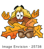 #25738 Clip Art Graphic Of A Yellow Safety Hardhat Cartoon Character With Autumn Leaves And Acorns In The Fall