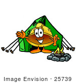 #25739 Clip Art Graphic Of A Yellow Safety Hardhat Cartoon Character Camping With A Tent And Fire