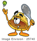 #25740 Clip Art Graphic Of A Yellow Safety Hardhat Cartoon Character Preparing To Hit A Tennis Ball