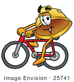 #25741 Clip Art Graphic Of A Yellow Safety Hardhat Cartoon Character Riding A Bicycle