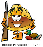 #25745 Clip Art Graphic Of A Yellow Safety Hardhat Cartoon Character Duck Hunting Standing With A Rifle And Duck