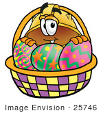 #25746 Clip Art Graphic Of A Yellow Safety Hardhat Cartoon Character In An Easter Basket Full Of Decorated Easter Eggs