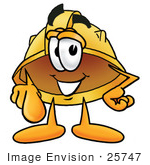 #25747 Clip Art Graphic Of A Yellow Safety Hardhat Cartoon Character Pointing At The Viewer