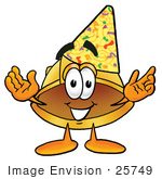 #25749 Clip Art Graphic Of A Yellow Safety Hardhat Cartoon Character Wearing A Birthday Party Hat