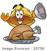 #25750 Clip Art Graphic Of A Yellow Safety Hardhat Cartoon Character Serving A Thanksgiving Turkey On A Platter
