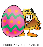 #25751 Clip Art Graphic Of A Yellow Safety Hardhat Cartoon Character Standing Beside An Easter Egg