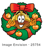 #25754 Clip Art Graphic Of A Yellow Safety Hardhat Cartoon Character In The Center Of A Christmas Wreath
