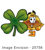 #25758 Clip Art Graphic Of A Yellow Safety Hardhat Cartoon Character With A Green Four Leaf Clover On St Paddy'S Or St Patricks Day
