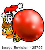 #25759 Clip Art Graphic Of A Yellow Safety Hardhat Cartoon Character Wearing A Santa Hat Standing With A Christmas Bauble
