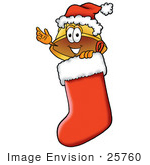 #25760 Clip Art Graphic Of A Yellow Safety Hardhat Cartoon Character Wearing A Santa Hat Inside A Red Christmas Stocking