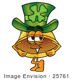 #25761 Clip Art Graphic Of A Yellow Safety Hardhat Cartoon Character Wearing A Saint Patricks Day Hat With A Clover On It