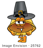 #25762 Clip Art Graphic Of A Yellow Safety Hardhat Cartoon Character Wearing A Pilgrim Hat On Thanksgiving
