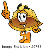 #25763 Clip Art Graphic Of A Yellow Safety Hardhat Cartoon Character Pointing Upwards