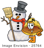 #25764 Clip Art Graphic Of A Yellow Safety Hardhat Cartoon Character With A Snowman On Christmas