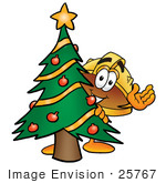 #25767 Clip Art Graphic Of A Yellow Safety Hardhat Cartoon Character Waving And Standing By A Decorated Christmas Tree