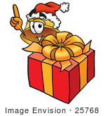 #25768 Clip Art Graphic Of A Yellow Safety Hardhat Cartoon Character Standing By A Christmas Present