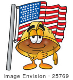 #25769 Clip Art Graphic Of A Yellow Safety Hardhat Cartoon Character Pledging Allegiance To An American Flag