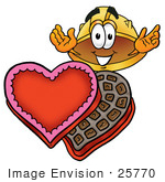 #25770 Clip Art Graphic Of A Yellow Safety Hardhat Cartoon Character With An Open Box Of Valentines Day Chocolate Candies