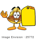 #25772 Clip Art Graphic Of A Yellow Safety Hardhat Cartoon Character Holding A Yellow Sales Price Tag