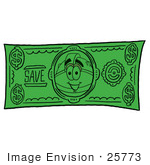 #25773 Clip Art Graphic Of A Yellow Safety Hardhat Cartoon Character On A Dollar Bill