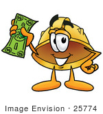 #25774 Clip Art Graphic Of A Yellow Safety Hardhat Cartoon Character Holding A Dollar Bill