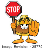 #25775 Clip Art Graphic Of A Yellow Safety Hardhat Cartoon Character Holding A Stop Sign