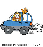 #25778 Clip Art Graphic Of A Yellow Safety Hardhat Cartoon Character Driving A Blue Car And Waving