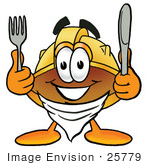 #25779 Clip Art Graphic Of A Yellow Safety Hardhat Cartoon Character Holding A Knife And Fork