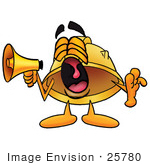 #25780 Clip Art Graphic Of A Yellow Safety Hardhat Cartoon Character Screaming Into A Megaphone