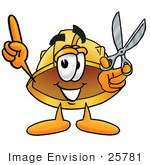 #25781 Clip Art Graphic Of A Yellow Safety Hardhat Cartoon Character Holding A Pair Of Scissors