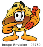 #25782 Clip Art Graphic Of A Yellow Safety Hardhat Cartoon Character Holding A Telephone