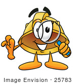 #25783 Clip Art Graphic Of A Yellow Safety Hardhat Cartoon Character Looking Through A Magnifying Glass