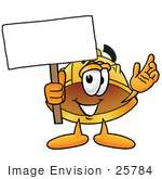 #25784 Clip Art Graphic Of A Yellow Safety Hardhat Cartoon Character Holding A Blank Sign