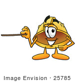 #25785 Clip Art Graphic Of A Yellow Safety Hardhat Cartoon Character Holding A Pointer Stick