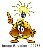 #25786 Clip Art Graphic of a Yellow Safety Hardhat Cartoon Character With a Bright Idea by toons4biz