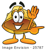 #25787 Clip Art Graphic Of A Yellow Safety Hardhat Cartoon Character Waving And Pointing