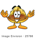 #25788 Clip Art Graphic of a Yellow Safety Hardhat Cartoon Character With Welcoming Open Arms by toons4biz