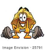 #25791 Clip Art Graphic Of A Yellow Safety Hardhat Cartoon Character Lifting A Heavy Barbell