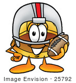 #25792 Clip Art Graphic Of A Yellow Safety Hardhat Cartoon Character In A Helmet Holding A Football
