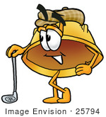 #25794 Clip Art Graphic Of A Yellow Safety Hardhat Cartoon Character Leaning On A Golf Club While Golfing