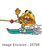 #25795 Clip Art Graphic Of A Yellow Safety Hardhat Cartoon Character Waving While Water Skiing