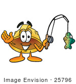 #25796 Clip Art Graphic Of A Yellow Safety Hardhat Cartoon Character Holding A Fish On A Fishing Pole